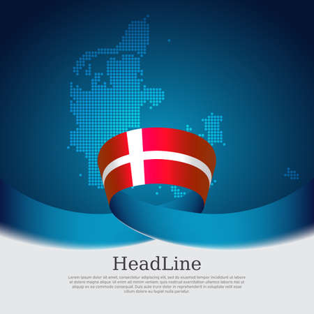 Denmark flag background. Danish national poster. Denmark flag, mosaic map on a blue white background. Vector design state patriotic banner, cover, business flyer
