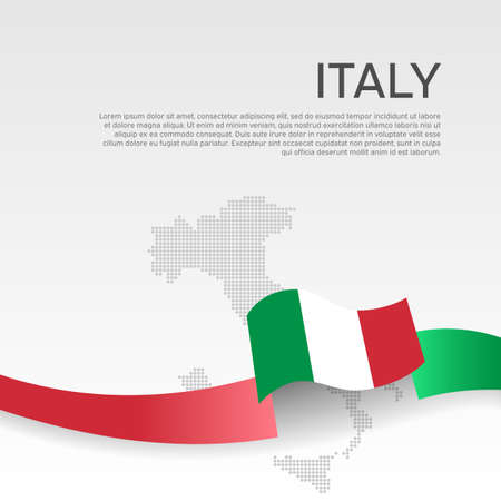 Italy wavy flag and mosaic map on white background. Wavy ribbon color flag of italy. National poster. Vector tricolor design. Business booklet. State italian patriotic banner, cover
