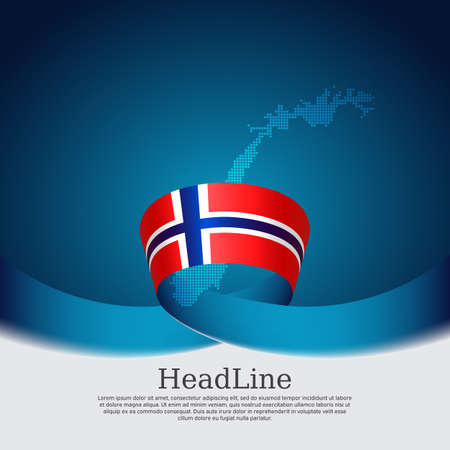 Background with flag of norway. National norwegian poster. Flag of norway, mosaic map on a blue white background. Vector design state patriotic banner, cover, business flyer