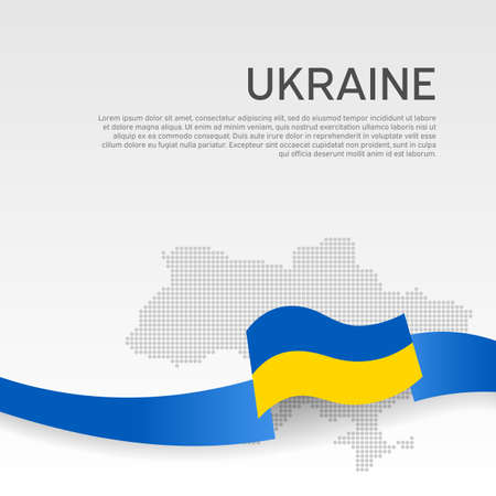Ukraine wavy flag and mosaic map on white background. Wavy ribbon colors of Ukraine flag. National poster. Vector design. Business booklet. State ukrainian patriotic cover, flyer