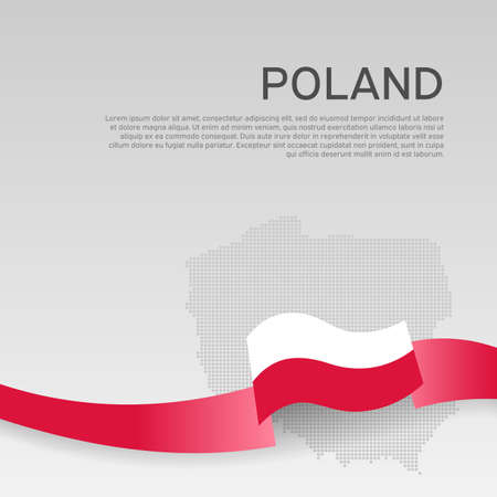 Poland wavy flag and mosaic map on white background. Wavy ribbon poland flag colors. National poster. Business booklet. Vector design. Polish state patriotic banner, cover Ilustracja