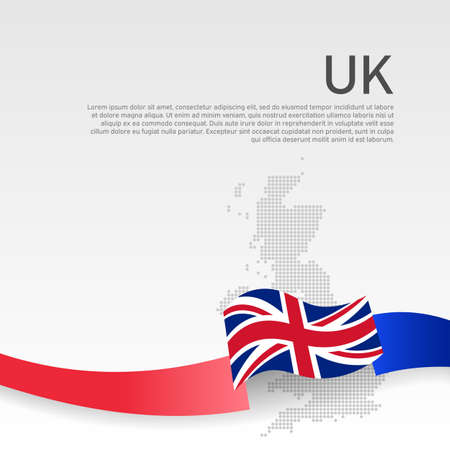 Great Britain wavy flag, mosaic map on white background. Wavy ribbon color flag of great britain. National poster of united kingdom. Vector design. Business booklet. UK state patriotic cover, flyer Ilustracja