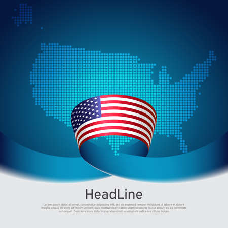 USA flag background. Mosaic map, flag of usa on a blue white background. National american poster. Vector design. State american patriotic banner, cover, business flyer Ilustracja