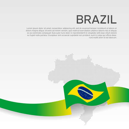 Brazil wavy flag and mosaic map on white background. Wavy ribbon color flag of brazil. National poster. Vector banner design. Business booklet. State patriotic flyer, cover