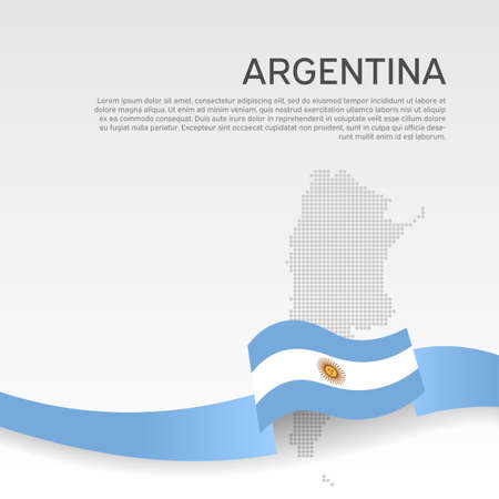 Argentina wavy flag and mosaic map on white background. National poster. Wavy ribbon argentina flag colors. Vector banner design. Business booklet. State patriotic flyer, cover