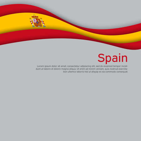 Abstract waving spain flag. Paper cut style. Creative background for spain patriotic holiday card design. National poster. Spanish state patriotic cover, flyer. Vector design