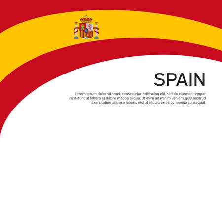 Abstract waving spain flag. Creative background for spain patriotic holiday card design. National poster. Spanish state patriotic cover, flyer. Vector flat design