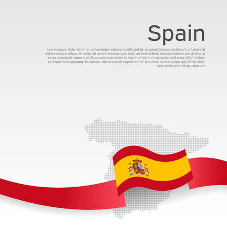 Spain wavy flag and mosaic map on white background. Wavy ribbon color flag of spain. National poster. Business booklet. Vector tricolor design. Spanish state patriotic banner, flyer Stock Illustratie