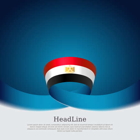 Egypt flag background. Egypt flag of wavy ribbon colors on blue white background. National poster. Vector brochure design. State egyptian patriotic banner, cover, flyer