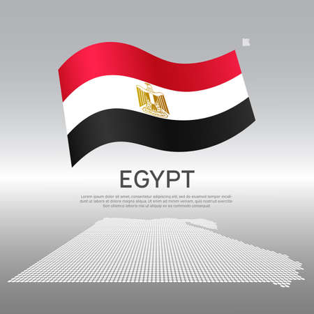 Egypt wavy flag and mosaic map on light background. Creative background for the national Egyptian poster. Vector tricolor design. Business booklet. State Egyptian patriotic banner, flyer