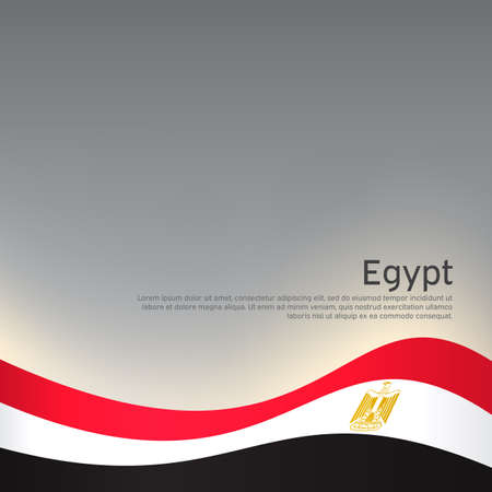 Abstract waving egypt flag. Creative background for egypt patriotic holiday card design. National poster. State Egyptian patriotic cover, flyer. Vector design