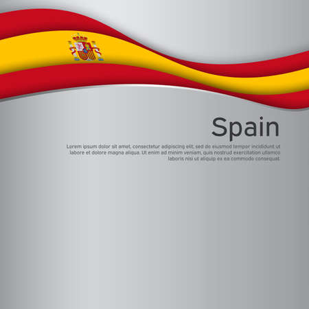 Abstract waving spain flag. Paper cut style. Creative background for spain patriotic holiday card design. National poster. Spanish state patriotic cover, flyer. Vector design Stockfoto - 158382910