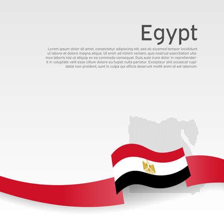 Egypt flag background. Egypt flag of wavy ribbon colors on white background. National poster. Vector tricolor design. State Egyptian patriotic banner, flyer Stock Illustratie