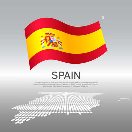 Spain wavy flag and mosaic map on light background. Creative background for national spanish poster. Vector design. Business booklet. Spain state patriotic banner, flyer Stock Illustratie