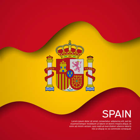 Abstract waving spain flag. Paper cut style. Creative background for spain patriotic holiday card design. Graphic background for the poster. Vector illustration of the spanish flag. Banner