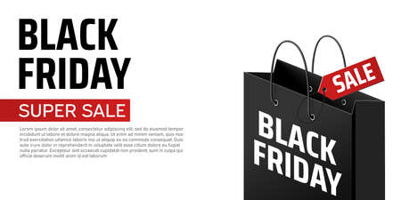 Advertising concept with black friday shopping bag on white background. Black friday vector banner. Store label. Shopping promotion. Special offer sale template. Concept poster, card, banner Stock Illustratie