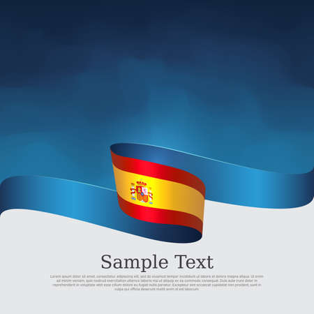 Spain flag background. Spain flag and wavy ribbons on blue white background. National poster. Vector brochure design. Spanish state patriotic banner, cover