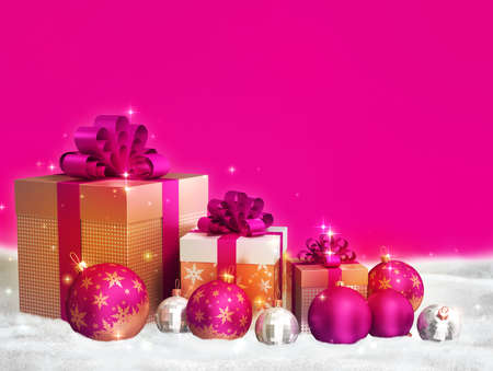 Merry christmas theme - pink christmas balls, golden gift boxes with bows on pink background and free space for text.