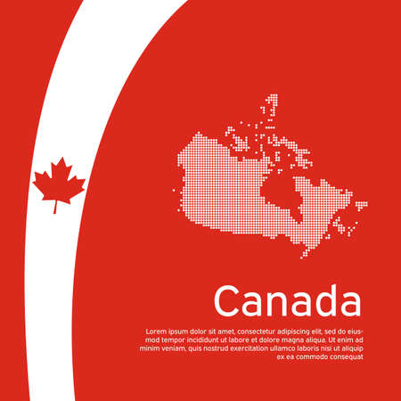 Abstract waving flag mosaic map of canada. Creative background in canada flag colors for holiday card design. National Poster. State canadian patriotic cover, business booklet. Vector flat design Stockfoto - 159474323