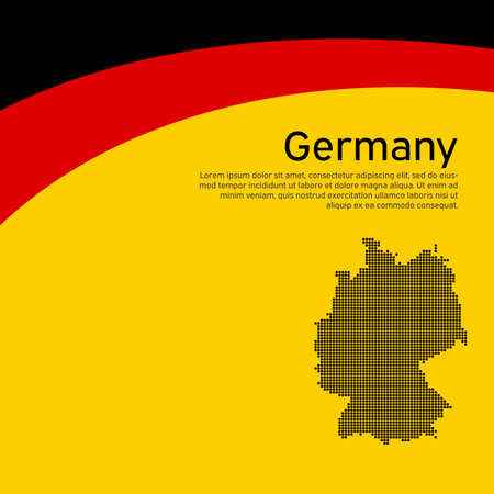 Abstract waving germany flag and mosaic map. Creative background for germany patriotic holiday card design. National poster. State German patriotic cover, flyer. Vector tricolor design Stock Illustratie