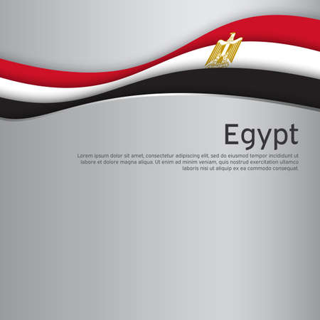 Abstract waving egypt flag. Paper cut style. Creative background for egypt patriotic holiday card design. National poster. State Patriotic egyptian Cover, Flyer. Vector design