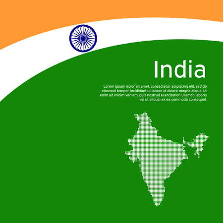 Abstract waving flag and mosaic map of india. Creative background for india patriotic holiday card design. National poster. State indian patriotic cover, flyer. Vector tricolor design