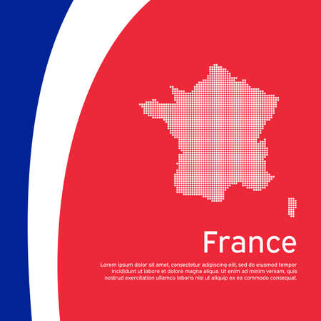 Abstract waving france flag and mosaic map. Creative background for patriotic, festive france card design. National Poster. State French patriotic cover, booklet, flyer. Vector tricolor design