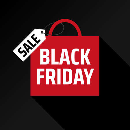 Minimalistic advertising concept with black friday shopping bag. Red bag with shadow. Shopping promotion. Special offer sale template. Concept poster, card. Flat icon. Black friday vector banner Stock Illustratie
