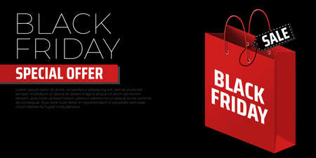 Advertising concept with black friday shopping bag on black background. Black friday vector banner. Store label. Shopping promotion. Special offer sale template. Concept poster, card, banner