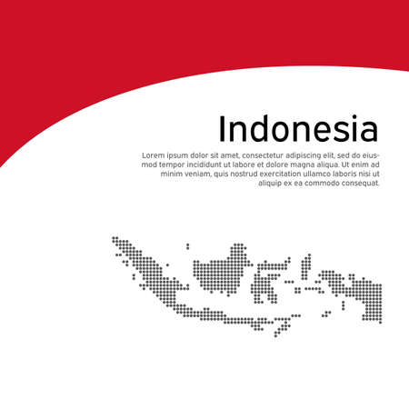 Cover, banner in national colors of Indonesia. Abstract waving flag and mosaic map of indonesia. Creative background for patriotic holiday card design. National poster. Vector design
