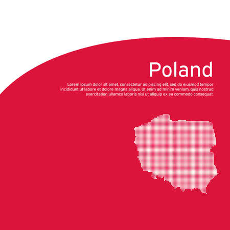 Cover, banner in national colors of poland. Abstract waving poland flag and mosaic map. Simple flat style. Patriotic cover, business booklet, flyer. National polish poster. Vector design