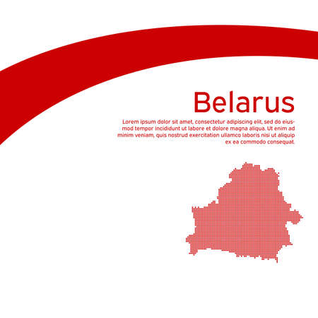 Abstract waving new flag mosaic map of belarus. Protest actions. Creative background for design of the patriotic banner Belarus. National Belarusian state business booklet, poster. Flat style, vector
