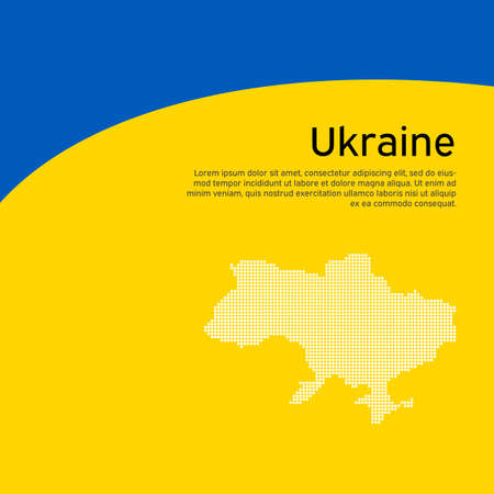 Abstract waving flag and mosaic map of ukraine. Creative background for patriotic holiday card design. National Poster. Cover, banner in state colors of Ukraine. Vector design