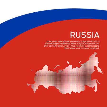 Abstract waving flag, mosaic map russia. Flat style. Creative background for design of patriotic holiday card of russia. National poster. State russian patriotic cover, flyer. Vector tricolor design Stock Illustratie