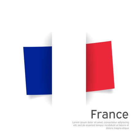 France flag in paper cut style. Creative background for patriotic, festive card design. National Poster. State French patriotic cover, booklet, flyer. Vector tricolor design