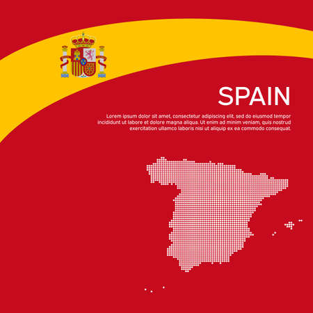 Abstract waving spain flag and mosaic map. Creative background for spain patriotic holiday card design. National poster. Spanish state patriotic cover, flyer. Vector flat design