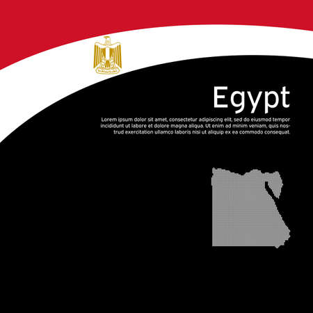 Abstract waving egypt flag and mosaic map. Creative background for egypt patriotic holiday card design. Flat style. National poster. State patriotic egyptian cover, flyer. Vector design