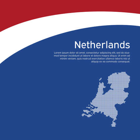 Abstract waving flag and mosaic map of netherlands. Creative background for patriotic holiday card design. National Poster. Cover, banner in state colors of the Netherlands. Vector tricolor design Stock Illustratie