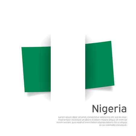 Nigeria flag in paper cut style. Creative background for nigeria patriotic holiday card design. National poster. State patriotic nigerian cover, banner, flyer. Vector design