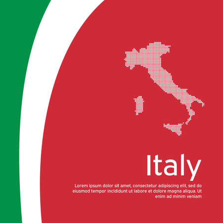 Abstract waving italy flag mosaic map. Creative background in italy flag colors for holiday card design. National poster. State Italian patriotic cover, business booklet, flyer. Vector design
