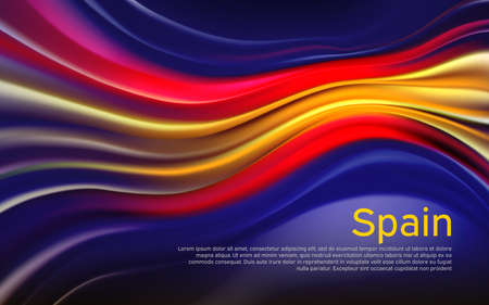 Spain flag background. Blurred pattern of light lines in the colors of the spanish flag, business brochure. Stockfoto - 159599603
