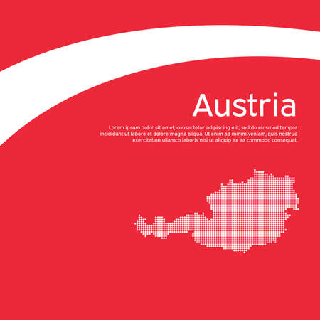 Abstract waving flag mosaic map of austria. Creative background for design of the patriotic holiday card Austria.