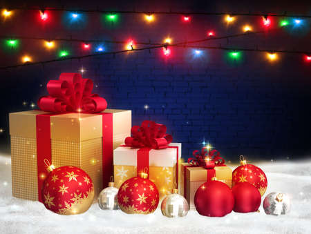 Merry Christmas red glass balls, golden gift boxes with bows on a dark brick wall background with bright multicolored christmas lights. Free space for text. New year colorful greeting background