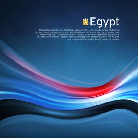 Egypt abstract flag background. Blurred pattern of light lines in the colors Egyptian flag in blue sky, business brochure. State banner, Egyptian poster, patriotic cover, flyer. Vector design