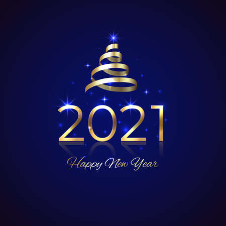 2021 New Year. Shiny golden 2021 with ribbon on blue background. New Year design for invitation, greeting card, calendar. Shiny gold logo. Holiday greeting card. Party event decoration, vector