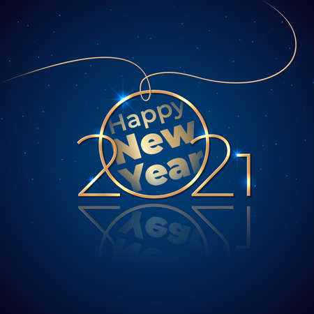 New Year 2021. Holiday greeting card. Shiny golden 2021 on dark blue background. New Year design for invitation, calendar, greeting card. Shiny gold logo. Party event decoration. Vector illustration