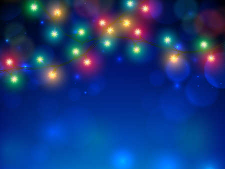 Glowing lights on blue background. Vintage greeting card merry christmas and happy new year. Colorful and golden christmas lights. Glowing xmas garland. Holiday xmas party retro banner design