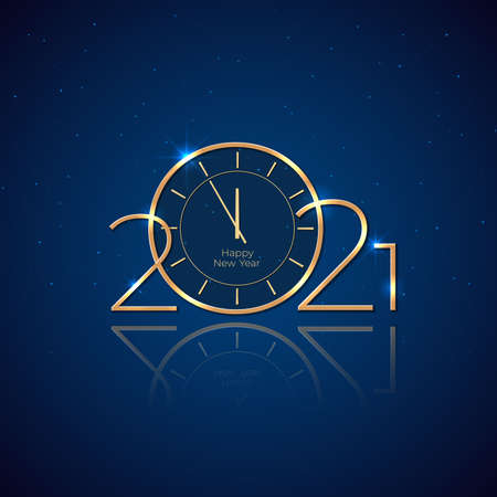 New Year 2021. Holiday card with golden clock. Shiny golden 2021 on blue background. New Year design for invitation, calendar, greeting card. Golden logo. Party event decoration. Vector illustration Stock Illustratie