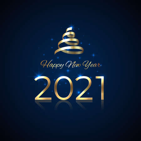 2021 New Year. Shiny golden 2021 with ribbon on blue background. Shiny gold logo. Holiday greeting card. Party event decoration. New Year design for invitation, greeting card, calendar, vector