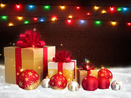 Merry Christmas red glass balls, golden gift boxes with bows on a brown brick wall background with bright multicolored christmas lights. New year colorful greeting card. Free space for text Stockfoto